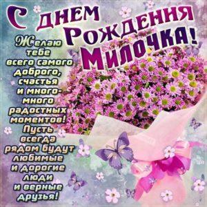 С Днем рождения Мила картинка-гифы. Букет, цветы, ромашки, полевые цветы, с надписью, стих, с бликами, эффекты, с поздравлением, открытка, мерцающая.