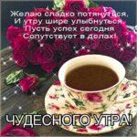 Чудесное утро розы кофе картинка