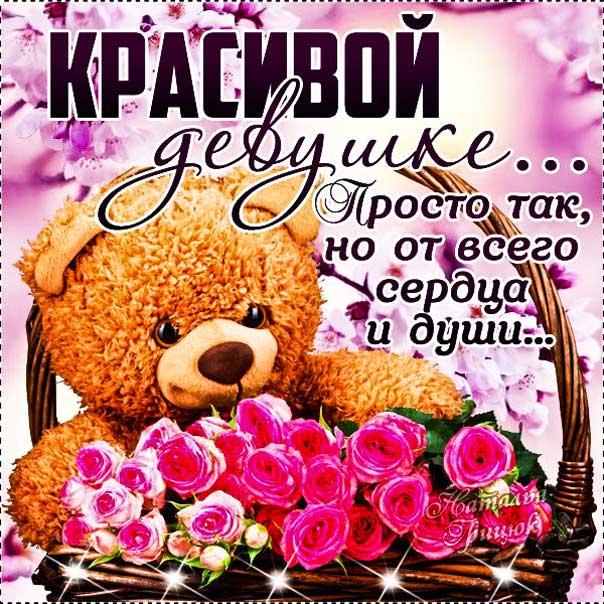 Красивой девушке комплимент картинка. Женщине комплименты, корзина роз, цветы, медведь, мишка, плюшевый, с надписями.