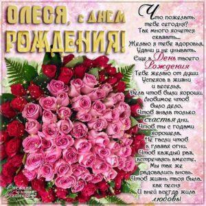 Олеся с Днем рождения картинки поздравить. Цветы, букет, розы, надпись, стихотворение, стих, с бликами, мерцающие, фразы, огромный букет, красные розы, узоры.
